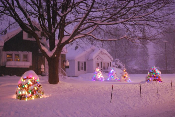 Bridget's and Robin's actual home. It looks like it could be a Christmas card.