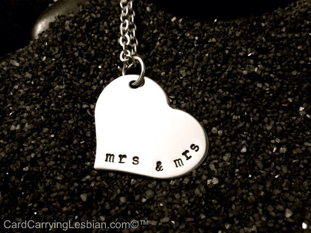 Mrs. & Mrs. hand stamped necklace from my etsy store