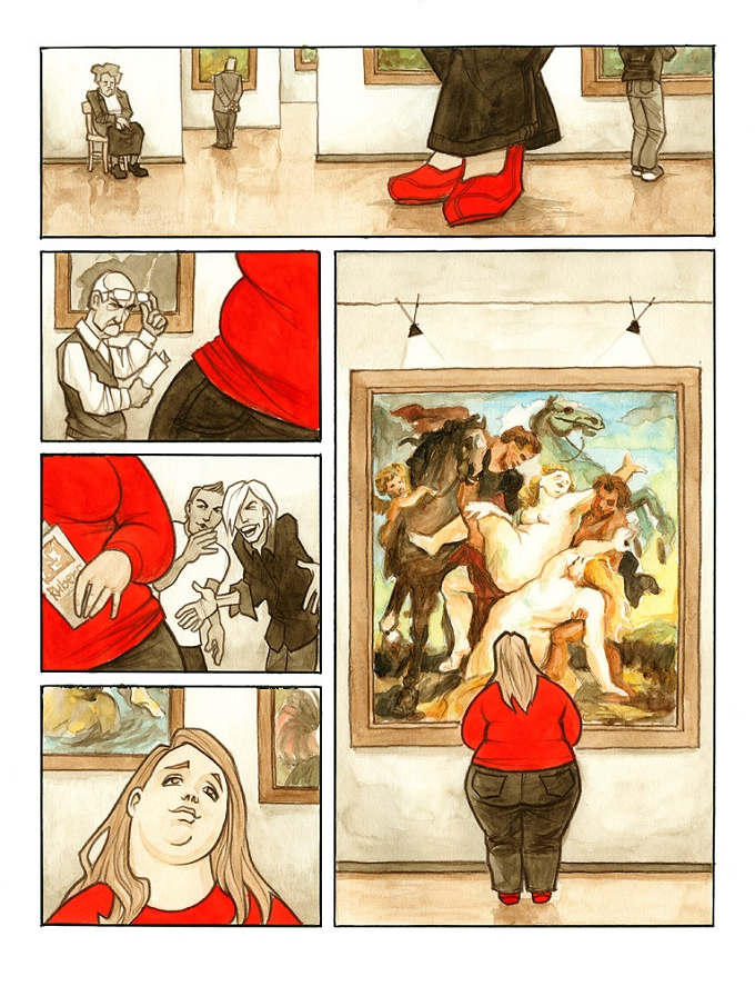 """Picture description: """"Wrong Century"""" — Brilliant illustration by artist Tomas Kucerovsky depicting the fate of plus-size beauty in the modern age."""