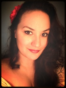 "My first attempt at ""Pin-up"" style hair and makeup to go with the retro theme of our wedding. :)"
